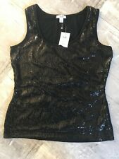 CACHE Sexy Stretch Black Knit Tank Top Sequin  Front size Small NWT***