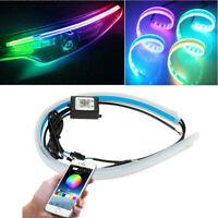 RGB APP 60CM Slim Flexible LED DRL Daytime Running Strip Light For Headlight UK