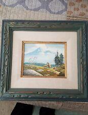 "Carl Barks Original Oil Painting Landscape horses and frame.  ""High Pasture"""