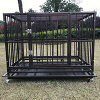 """42"""" Metal Heavy Duty Dog Cage Large Pet Crate Kennel Playpen w/Tray Wheels"""