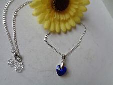 Einfache silberne Kette Herzanhänger blau(2)