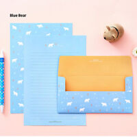 NEW Cute Polar Bear Letter set - 4sh Blue Writing Stationery Paper 2sh Envelope