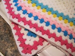 """Hand Crocheted 'Granny Square' WHITE & ASS'D Cols  **NEW**  [24"""" x 24""""]"""