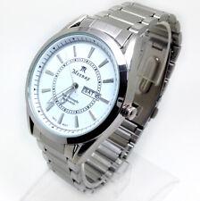 512P Men New Fashion Classic Wrist Watch Silver Metal Band White Day Date Dial