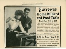 1904 Burrowes Billiard & Pool Tables Ad Portland Maine Balletto Game Billiards