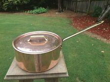 """Vintage Bourgeat 8.75"""" Copper Sauce Pot Pan Bronze Handle Tin Lined W/Lid"""