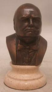 Bronze Bust of Winston Churchill on Solid Marble Base - 15cm High