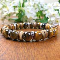 Bracelet Homme Femme Oeil de tigre  Bois  Perles du Tibet Lithothérapie