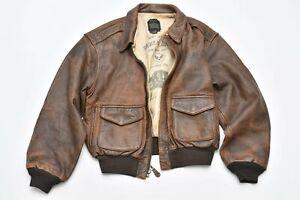 Avirex Vintage USA A-2 Brown Genuine Leather Zip Up Flight Jacket Size XL