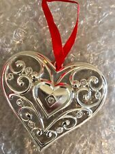 Lenox Sparkle and Scroll Clear-Crystal Heart Ornament Silverplate Sku# 851309