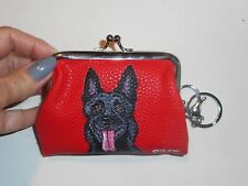 Black German Shepherd dog Portrait Coin Change Purse with Key Chain