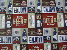 2 SHEETS OF THICK GLOSSY MALE  BIRTHDAY WRAPPING PAPER  (BEER)