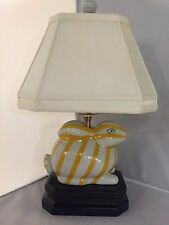 Yellow/White Bunny Rabbit Table Lamp Striped Desk Bed Side Light Includes Shade