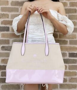 Kate Spade New York Street Tote Small Side Snap Serendipity Pink Canvas