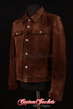 Men's TRUCKER Suede Leather Jacket Western Classic Denim Style Shirt Jacket 1280
