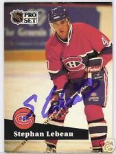 STEPHAN LEBEAU Montreal Canadiens 1992 PRO SET   AUTOGRAPHED HOCKEY CARD JSA