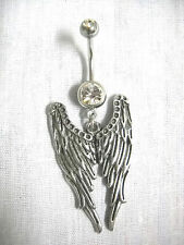 NEW SET OF DETAILED ANGEL WINGS CLEAR 14g BELLY BAR NAVEL RING TWIN ANGEL WING