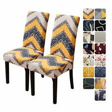 Chair Covers for Dining Room Set of 2, Dining Chair 2 Pcs Yellow Waves