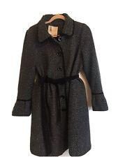 Wollmantel lunga cappotto da donna taglio moderno Cappotto Con Cintura Nero