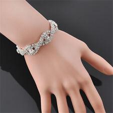 New Women Fashion Elegant Crystal Bracelet Infinity Rhinestone Bangle Jewelry