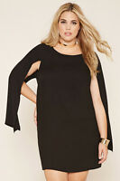 Forever 21 Black Plus Size Cape-Sleeve Dress 1X/2X/3X