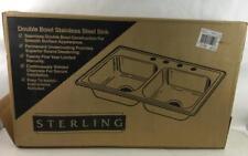 Sterling Double Bowl (4) Hole Sink Mod#wave75125 Lot 2387
