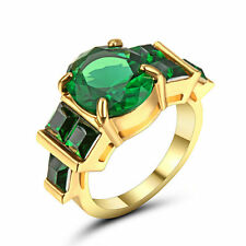 Size 6 Gold Platinum Plated Rhodium Ring Green CZ Wedding oval Cut Bridal Halo