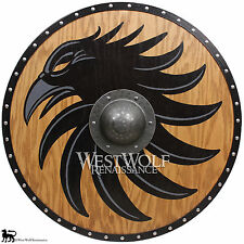 Solid Oak Viking Raven Shield - Forged Iron Boss --- sca/larp/norse/Norway/armor