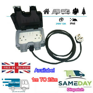 Outdoor IP66 Garden Extension Lead Socket Box IP66 Rated All Sizes Black Cable