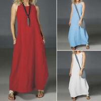 Women Sleeveless Summer Tank Dress Off Shoulder Long Maxi Dress Shirt Dress Plus