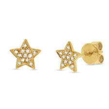 0.06CT 14K Yellow Gold Natural Round Cut Real Diamond Star Stud Earrings Jewelry