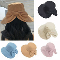 Women's Anti-UV Wide Brim Summer Beach Cotton Bucket Sun Protective Hat Knotbow