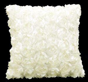 Sa207a Ivory White 3D Flower Taffeta Satin Cushion Cover/Pillow Case*Custom Size