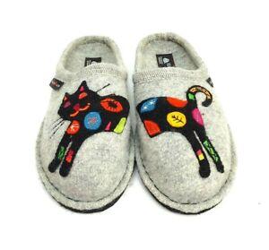 Halfinger Wool Slippers Cat AR Sassy Silver Grey 313048 Womens EUR 37 US 6.5 New