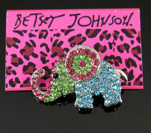Betsey Johnson Lovely Pink & Blue & Green Crystal elephant Charm Woman Brooch