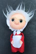 Vintage Mrs Santa Claus Christmas Ornament Beaded Felt Jiggly Body