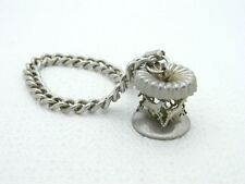 Carousel Horse Spinning Charm Chain Link Silver Tone Vintage Bracelet