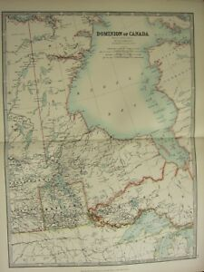 1896 LARGE VICTORIAN MAP ~ DOMINION OF CANADA WEST CENTRAL MANITOBA ONTARIO