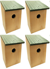 More details for 4 x wooden wood nesting nest boxes bird house small birds blue tit robin sparrow
