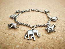 "Charm Style Bracelet with 7 Indian Elephants ""Antique"" Silver Colour Handmade"