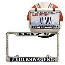 1974 Volkswagen Bubblehead Chrome Dealer License Plate Frame for VW Bug Bus Ghia