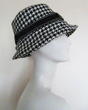 Vintage Gioe Women's Black White Houndstooth Bucket Style Hat