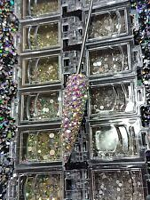 Nail Art Tray Box Bling Approximately 200 Crystals in Each Tray Clear AB