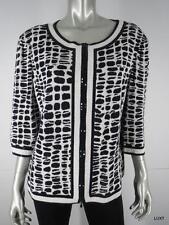 $1160 ST JOHN XL Knit Black White Animal Print Paillettes Zip Jacket Blazer EUC