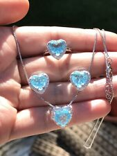 OCEAN BLUE NATURAL AQUAMARINE JEWELRY SET 925 SOLID STERLING SILVER BRAZIL