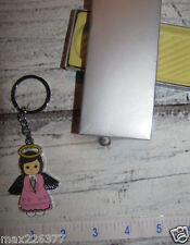"""Lot of 10 Pink Baby GIRL baptism Keychain Party Favors ANGELS with gift box 3.5"""""""