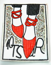 HIGH HEEL RED SHOES SPARKLY  Embroidered Sew Iron On Cloth Patch Badge APPLIQUE