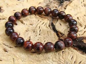 Natural Gemstone Men's ELASTIC Bracelet all 10mm RED Tiger Eye beads