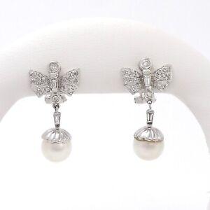 18k White Gold Pavé Diamond Akoya Pearl Angel Wings Drop Dangle Earrings
