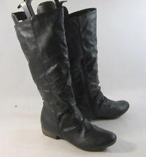 "Black 1"" Low Block Heel Comfortable Sexy Mid-Calf Boot Size 7"